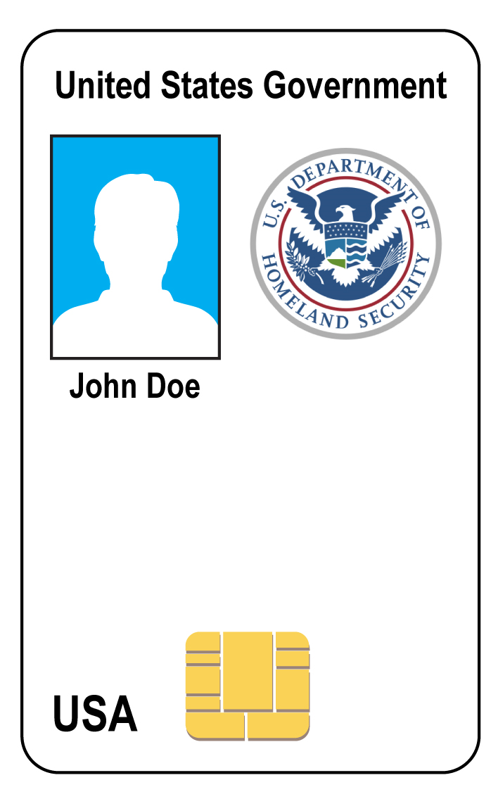 PIV Badge - United States Government - U.S. Department of Homeland Security Seal - John Doe - USA